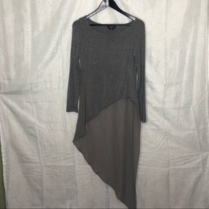 Long Sleeved Asymmetrical Grey Top Bebe Sz S